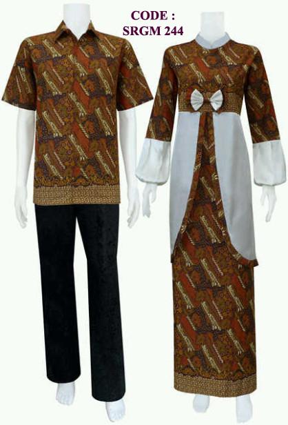 Busana Batik Sarimbit Model Gamis Pita Depan Code Srgm 24